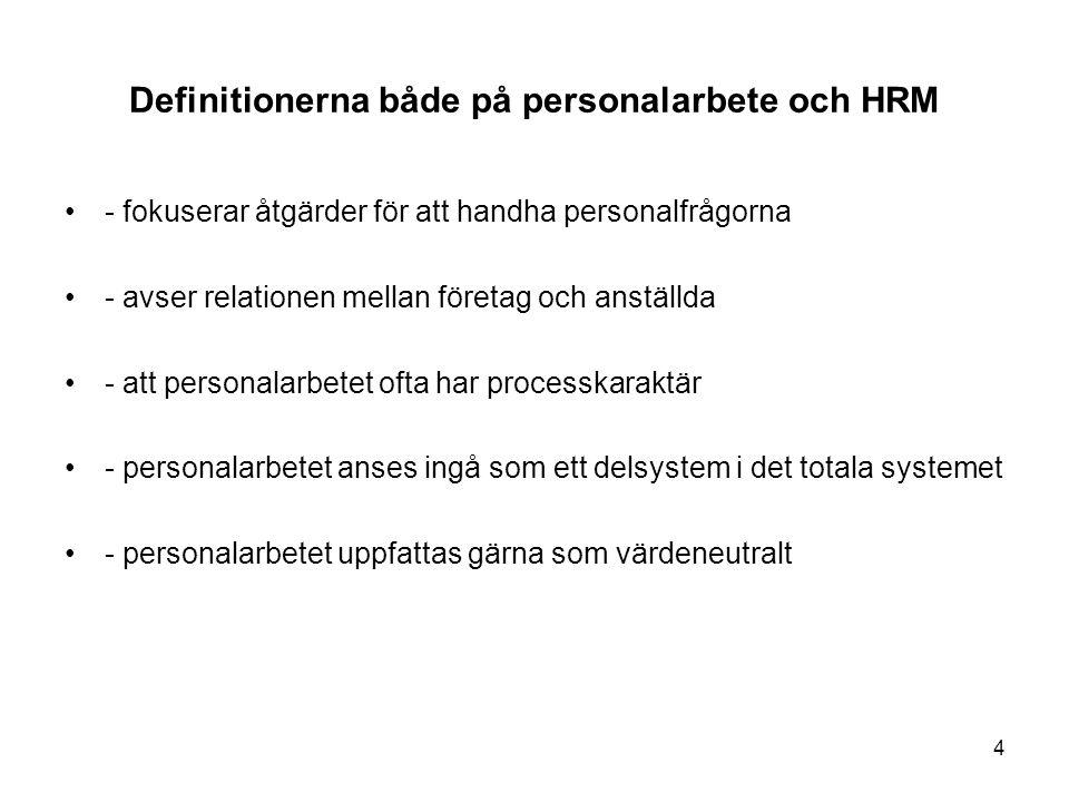 Definitionerna både på personalarbete och HRM - fokuserar åtgärder för att handha personalfrågorna - avser relationen mellan företag och anställda - a