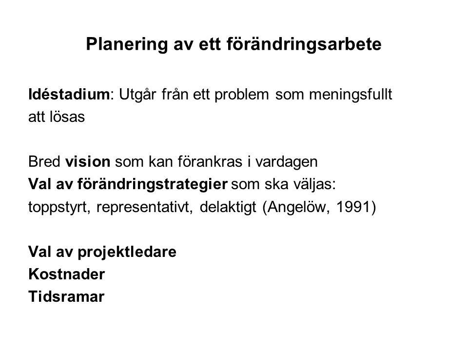 Planering av ett förändringsarbete Idéstadium: Utgår från ett problem som meningsfullt att lösas Bred vision som kan förankras i vardagen Val av förän