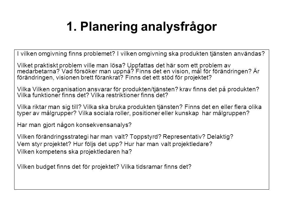 1. Planering analysfrågor I vilken omgivning finns problemet? I vilken omgivning ska produkten tjänsten användas? Vilket praktiskt problem ville man l
