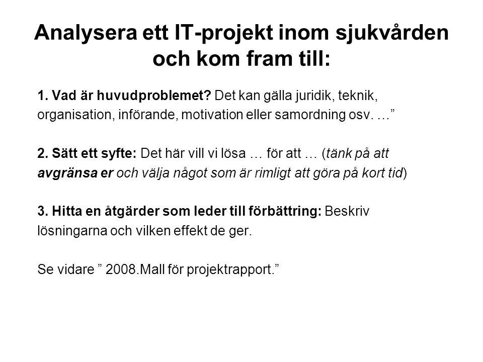 Analysera ett IT-projekt inom sjukvården och kom fram till: 1. Vad är huvudproblemet? Det kan gälla juridik, teknik, organisation, införande, motivati