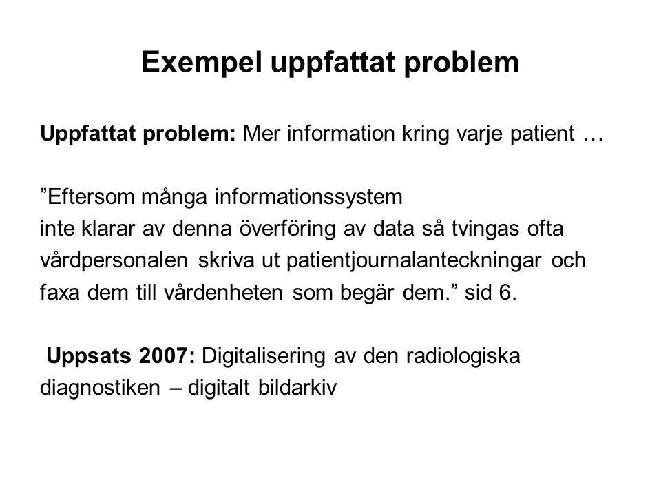 """Exempel uppfattat problem Uppfattat problem: Mer information kring varje patient … """"Eftersom många informationssystem inte klarar av denna överföring"""