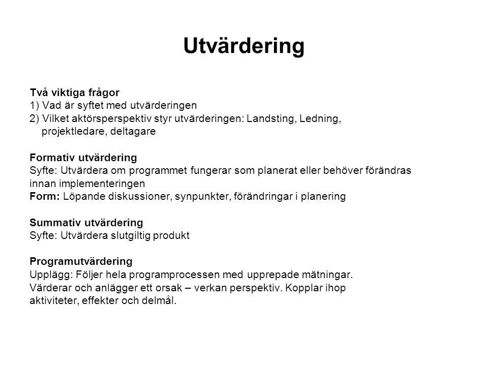 Utvärdering Två viktiga frågor 1) Vad är syftet med utvärderingen 2) Vilket aktörsperspektiv styr utvärderingen: Landsting, Ledning, projektledare, de