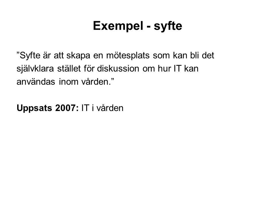 """Exempel - syfte """"Syfte är att skapa en mötesplats som kan bli det självklara stället för diskussion om hur IT kan användas inom vården."""" Uppsats 2007:"""
