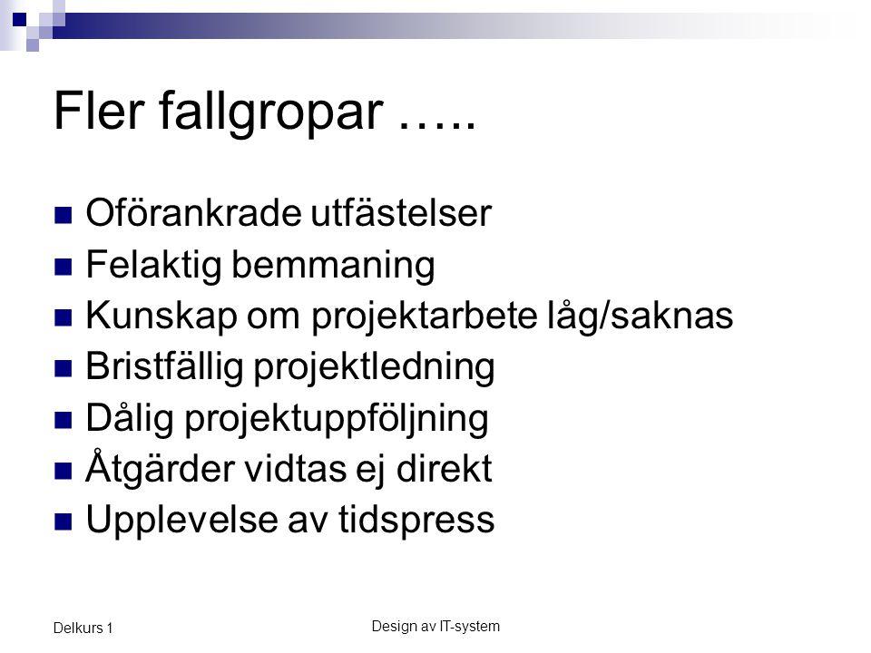Design av IT-system Delkurs 1 Fler fallgropar …..