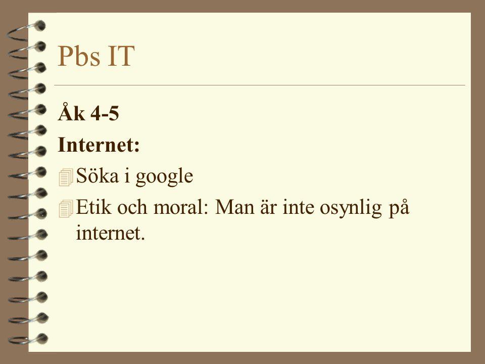 Pbs IT Åk 4-5 Internet: 4 Söka i google 4 Etik och moral: Man är inte osynlig på internet.
