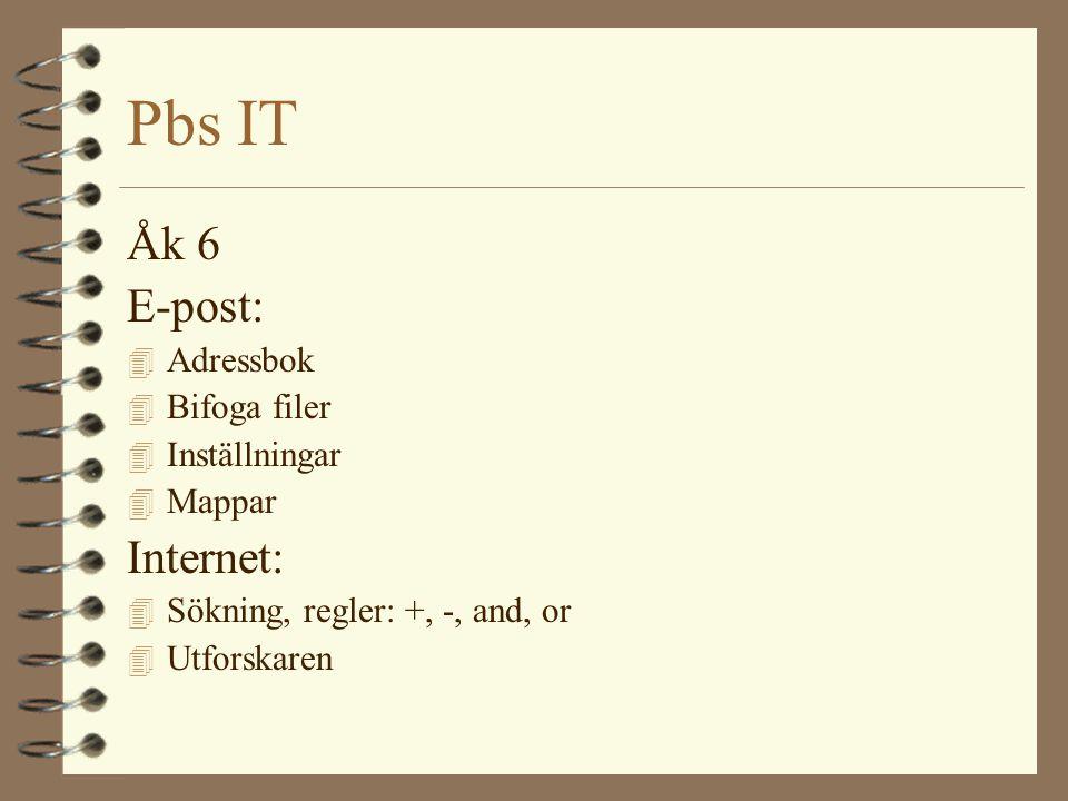 Pbs IT Åk 6 E-post: 4 Adressbok 4 Bifoga filer 4 Inställningar 4 Mappar Internet: 4 Sökning, regler: +, -, and, or 4 Utforskaren