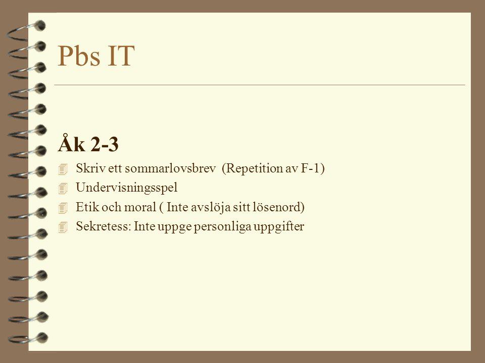 Pbs IT Åk 2-3 Word: 4 Lägga in clipartbild 4 Punkt, kommatecken, utropstecken och frågetecken 4 Byta storlek på text 4 Använda funktionerna F, K, U 4 Textjustering V, H, C 4 Spara i sin hemkatalog 4 Markera ord i texten 4 Kunna redigera en felaktig text så att den blir rätt.