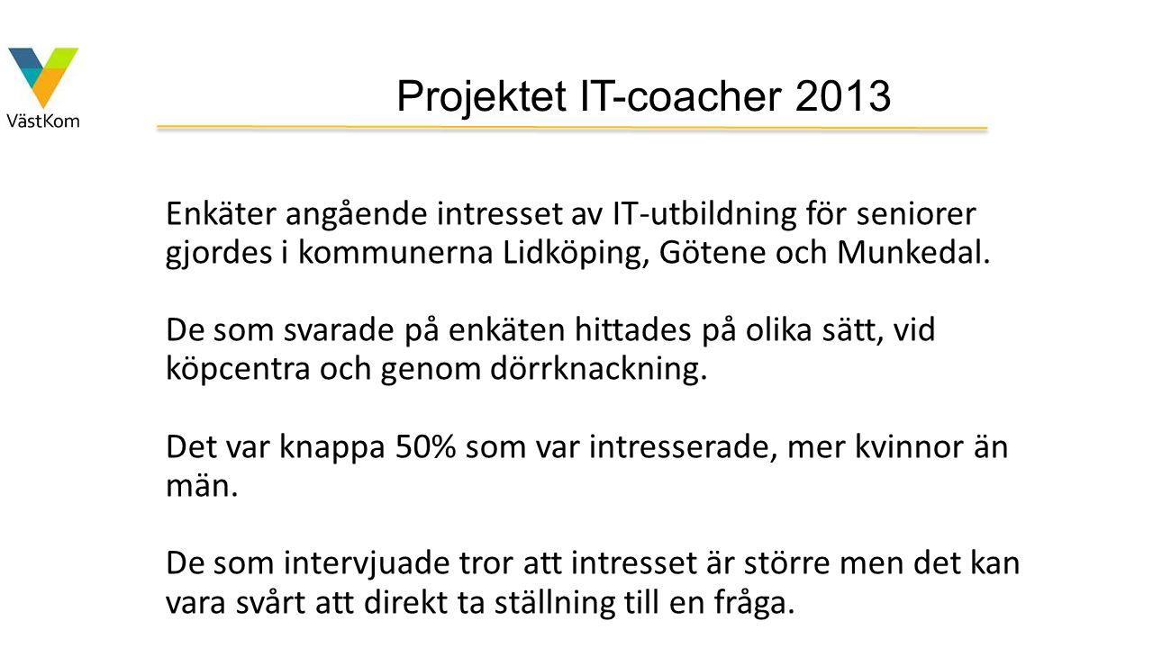 Projektet IT-coacher 2013 Enkäter angående intresset av IT-utbildning för seniorer gjordes i kommunerna Lidköping, Götene och Munkedal.