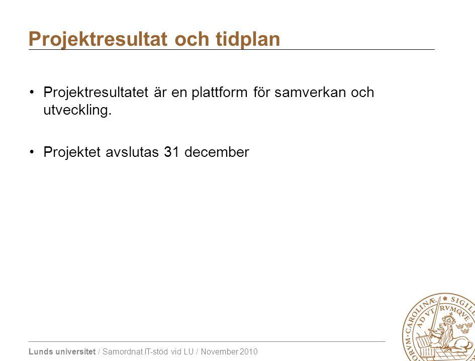 Lunds universitet / Samordnat IT-stöd vid LU / November 2010 Projektresultatet är en plattform för samverkan och utveckling. Projektet avslutas 31 dec