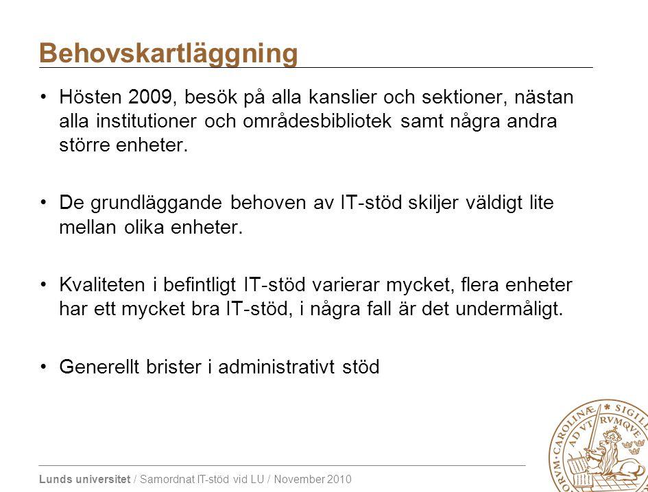 Lunds universitet / Samordnat IT-stöd vid LU / November 2010 Hösten 2009, besök på alla kanslier och sektioner, nästan alla institutioner och områdesb