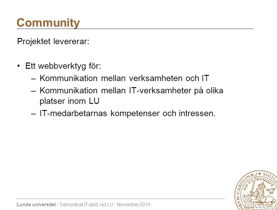 Lunds universitet / Samordnat IT-stöd vid LU / November 2010 Projektet levererar: Ett webbverktyg för: –Kommunikation mellan verksamheten och IT –Kommunikation mellan IT-verksamheter på olika platser inom LU –IT-medarbetarnas kompetenser och intressen.