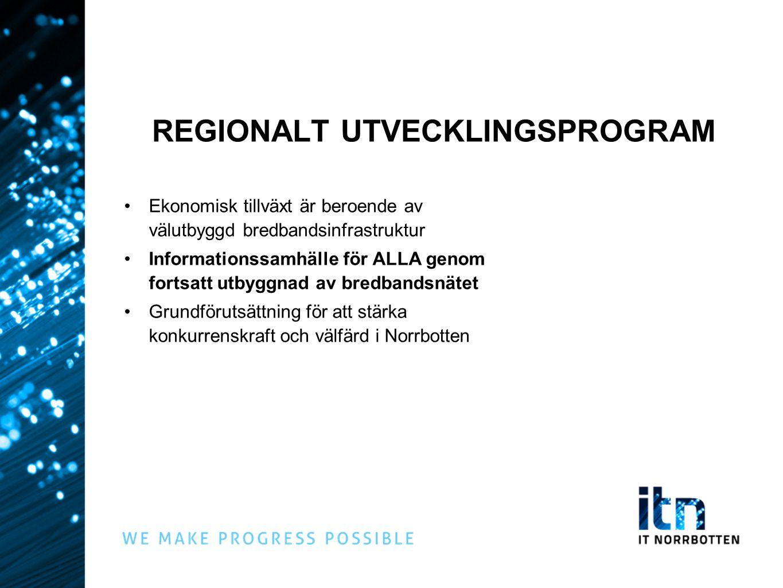 REGIONALT UTVECKLINGSPROGRAM Ekonomisk tillväxt är beroende av välutbyggd bredbandsinfrastruktur Informationssamhälle för ALLA genom fortsatt utbyggnad av bredbandsnätet Grundförutsättning för att stärka konkurrenskraft och välfärd i Norrbotten