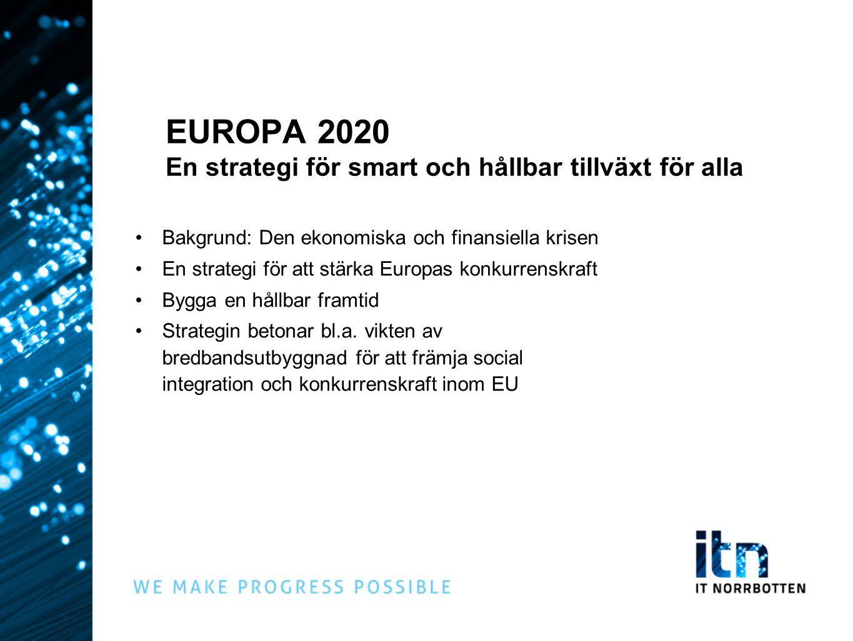 EUROPA 2020 En strategi för smart och hållbar tillväxt för alla Bakgrund: Den ekonomiska och finansiella krisen En strategi för att stärka Europas konkurrenskraft Bygga en hållbar framtid Strategin betonar bl.a.