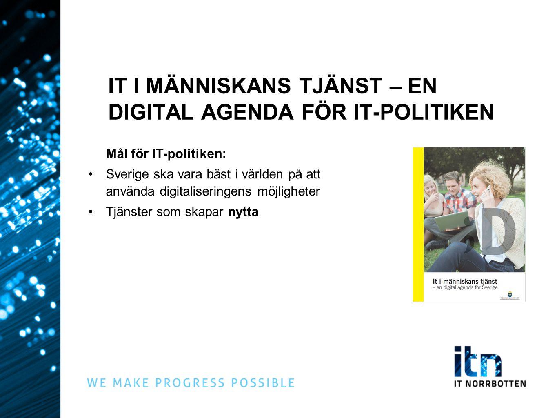 IT I MÄNNISKANS TJÄNST – EN DIGITAL AGENDA FÖR IT-POLITIKEN Mål för IT-politiken: Sverige ska vara bäst i världen på att använda digitaliseringens möjligheter Tjänster som skapar nytta