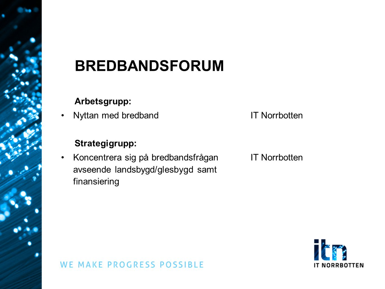 BREDBANDSFORUM Arbetsgrupp: Nyttan med bredband IT Norrbotten Strategigrupp: Koncentrera sig på bredbandsfråganIT Norrbotten avseende landsbygd/glesby
