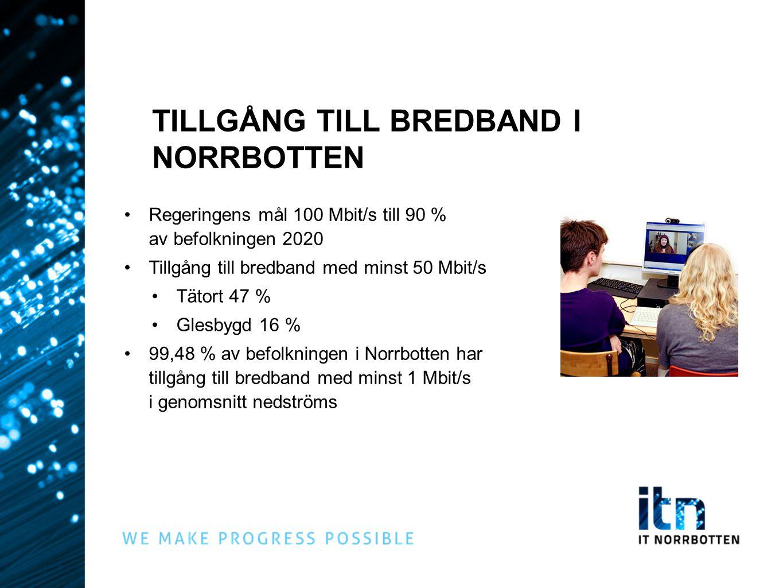 Regeringens mål 100 Mbit/s till 90 % av befolkningen 2020 Tillgång till bredband med minst 50 Mbit/s Tätort 47 % Glesbygd 16 % 99,48 % av befolkningen
