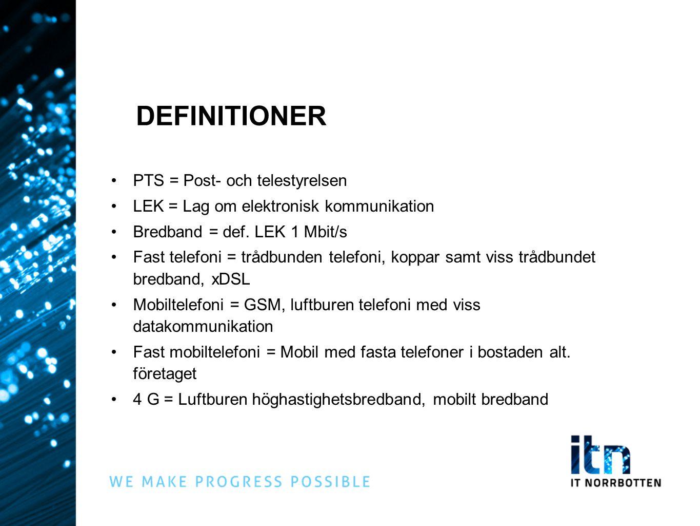 DEFINITIONER PTS = Post- och telestyrelsen LEK = Lag om elektronisk kommunikation Bredband = def. LEK 1 Mbit/s Fast telefoni = trådbunden telefoni, ko