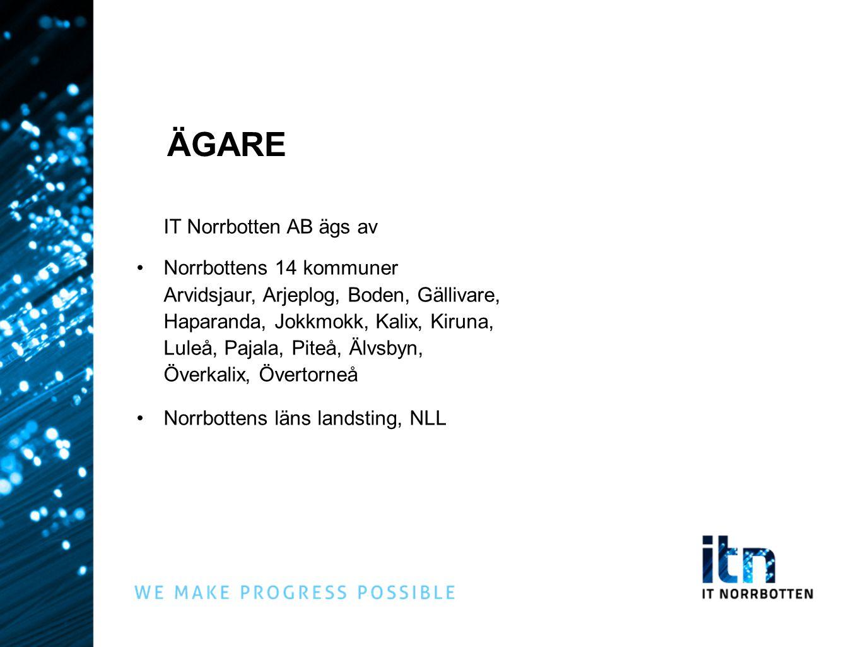 IT Norrbotten AB ägs av Norrbottens 14 kommuner Arvidsjaur, Arjeplog, Boden, Gällivare, Haparanda, Jokkmokk, Kalix, Kiruna, Luleå, Pajala, Piteå, Älvs