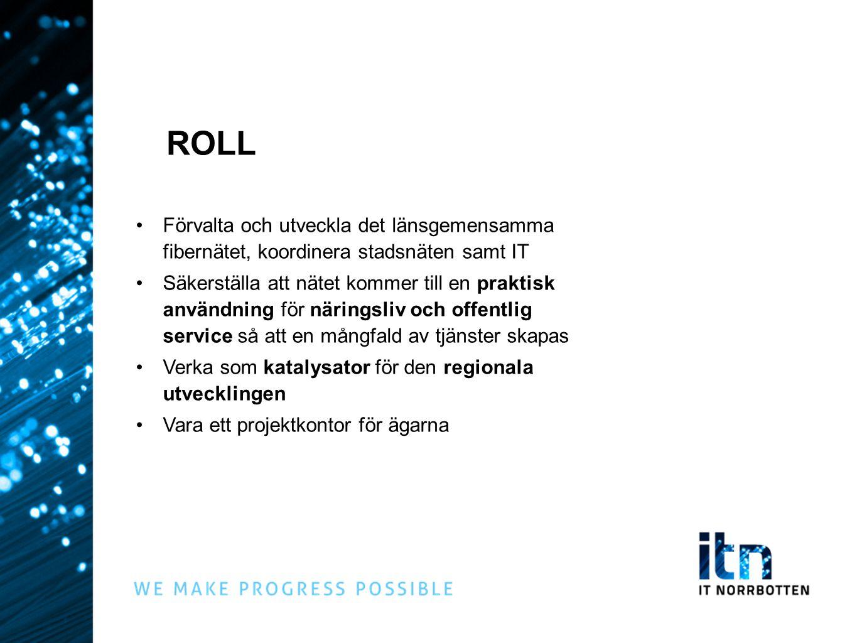 ROLL Förvalta och utveckla det länsgemensamma fibernätet, koordinera stadsnäten samt IT Säkerställa att nätet kommer till en praktisk användning för näringsliv och offentlig service så att en mångfald av tjänster skapas Verka som katalysator för den regionala utvecklingen Vara ett projektkontor för ägarna
