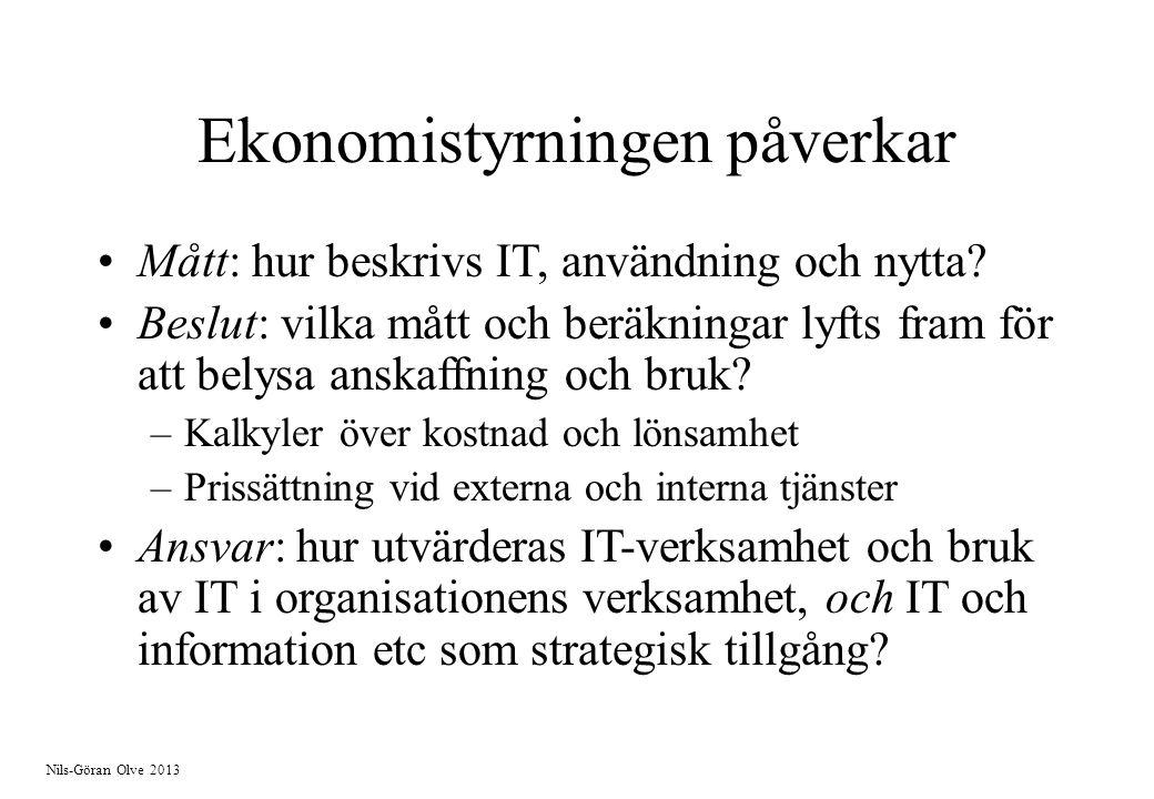 Nils-Göran Olve 2013 Ekonomistyrningen påverkar Mått: hur beskrivs IT, användning och nytta? Beslut: vilka mått och beräkningar lyfts fram för att bel