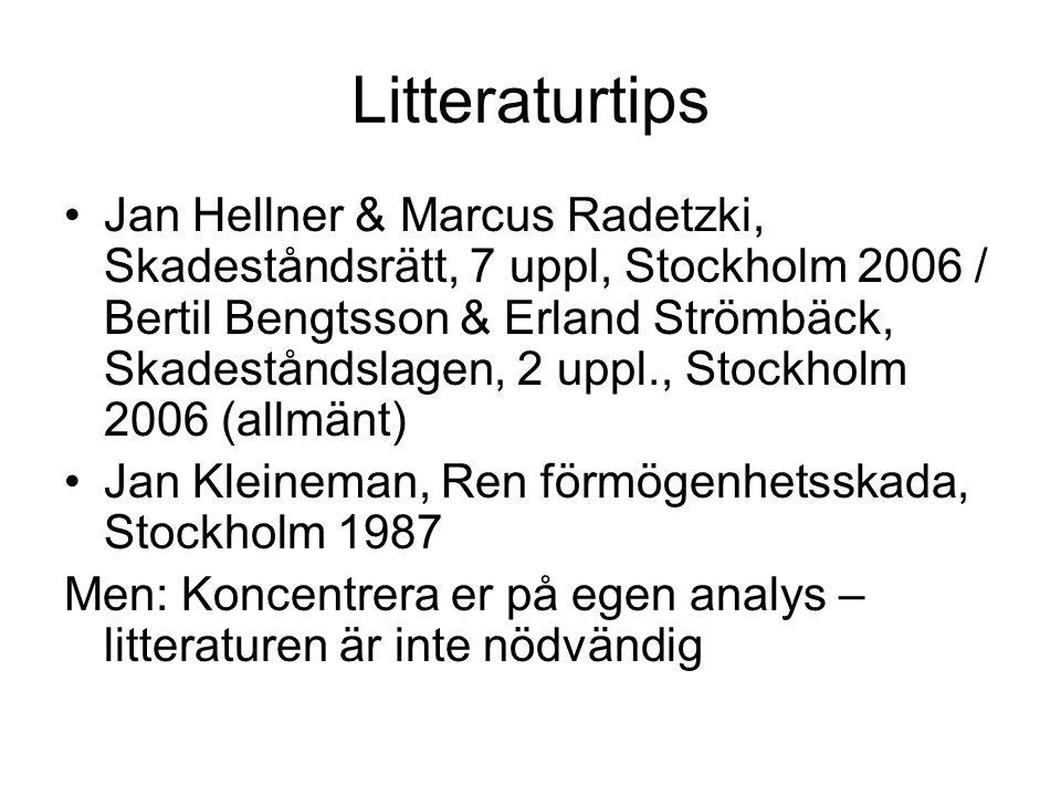 Litteraturtips Jan Hellner & Marcus Radetzki, Skadeståndsrätt, 7 uppl, Stockholm 2006 / Bertil Bengtsson & Erland Strömbäck, Skadeståndslagen, 2 uppl., Stockholm 2006 (allmänt) Jan Kleineman, Ren förmögenhetsskada, Stockholm 1987 Men: Koncentrera er på egen analys – litteraturen är inte nödvändig