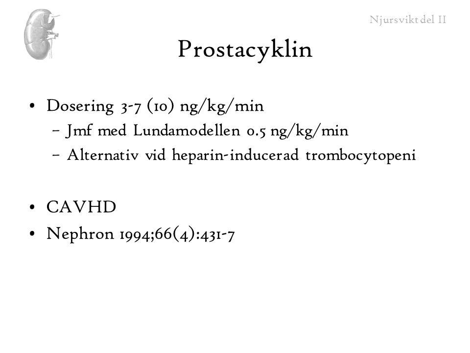 Njursvikt del II Prostacyklin Dosering 3-7 (10) ng/kg/min –Jmf med Lundamodellen 0.5 ng/kg/min –Alternativ vid heparin-inducerad trombocytopeni CAVHD