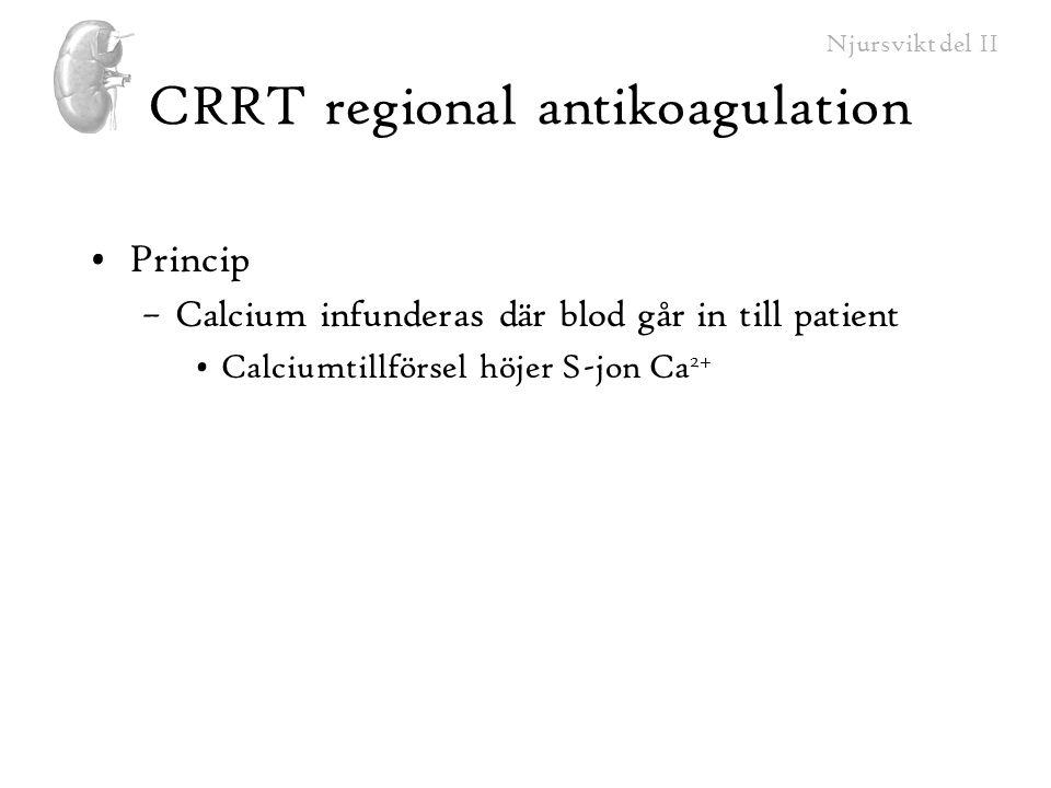 Njursvikt del II CRRT regional antikoagulation Princip –Calcium infunderas där blod går in till patient Calciumtillförsel höjer S-jon Ca 2+