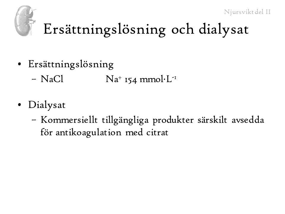 Njursvikt del II Ersättningslösning och dialysat Ersättningslösning –NaCl Na + 154 mmol∙L -1 Dialysat –Kommersiellt tillgängliga produkter särskilt av