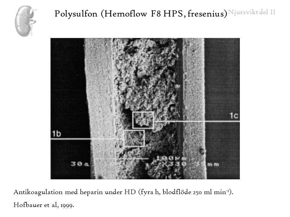 Njursvikt del II Antikoagulation med heparin under HD (fyra h, blodflöde 250 ml min -1 ). Hofbauer et al, 1999. Polysulfon (Hemoflow F8 HPS, fresenius