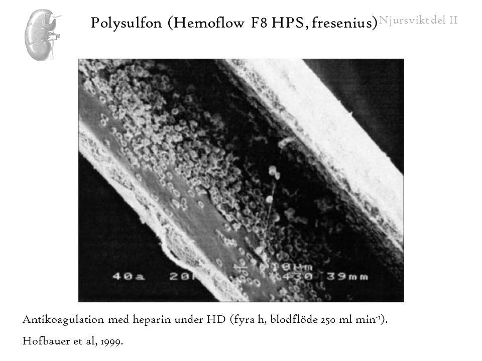 Njursvikt del II Polysulfon (Hemoflow F8 HPS, fresenius) Antikoagulation med heparin under HD (fyra h, blodflöde 250 ml min -1 ). Hofbauer et al, 1999