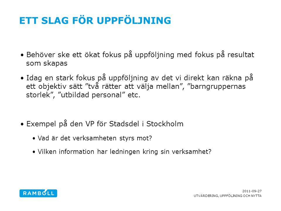 2011-09-27 UTVÄRDERING, UPPFÖLJNING OCH NYTTA ETT SLAG FÖR UPPFÖLJNING Behöver ske ett ökat fokus på uppföljning med fokus på resultat som skapas Idag