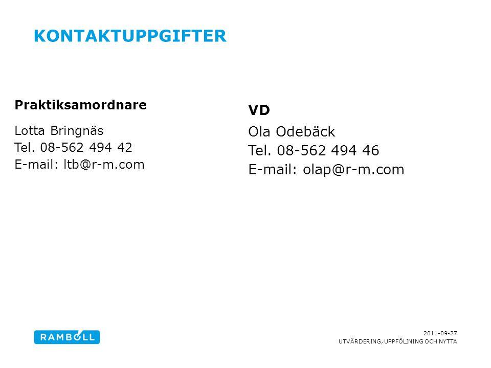 2011-09-27 UTVÄRDERING, UPPFÖLJNING OCH NYTTA KONTAKTUPPGIFTER Praktiksamordnare Lotta Bringnäs Tel. 08-562 494 42 E-mail: ltb@r-m.com VD Ola Odebäck