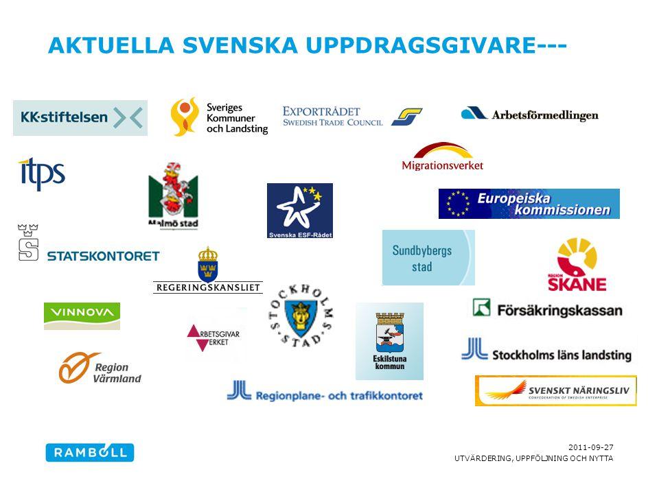 2011-09-27 UTVÄRDERING, UPPFÖLJNING OCH NYTTA VÅRT UPPDRAG Ramböll Management Consulting ska: bidra till att utveckla och effektivt implementera politiska beslut Samhälle Organisa- tion Individ