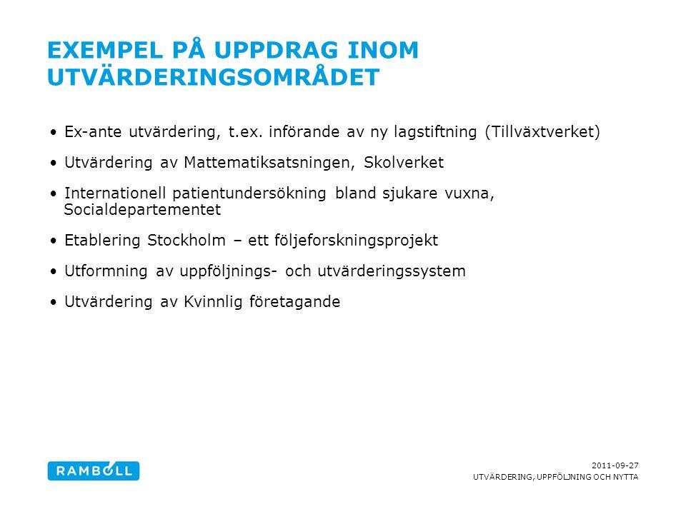 2011-09-27 UTVÄRDERING, UPPFÖLJNING OCH NYTTA EXEMPEL PÅ UPPDRAG INOM UTVÄRDERINGSOMRÅDET Ex-ante utvärdering, t.ex. införande av ny lagstiftning (Til