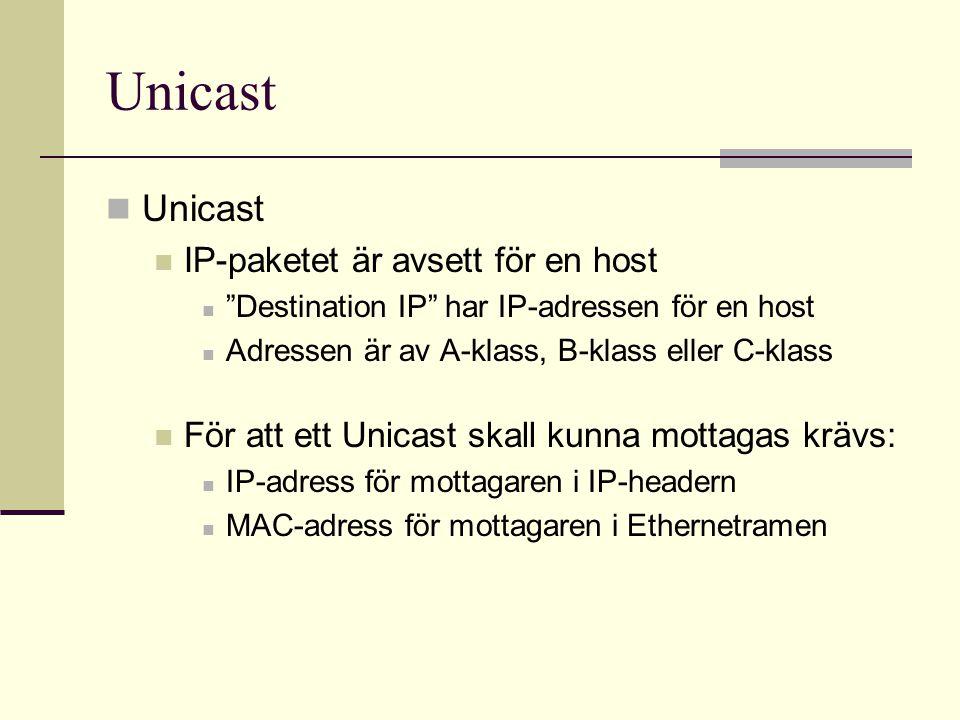 """Unicast IP-paketet är avsett för en host """"Destination IP"""" har IP-adressen för en host Adressen är av A-klass, B-klass eller C-klass För att ett Unicas"""