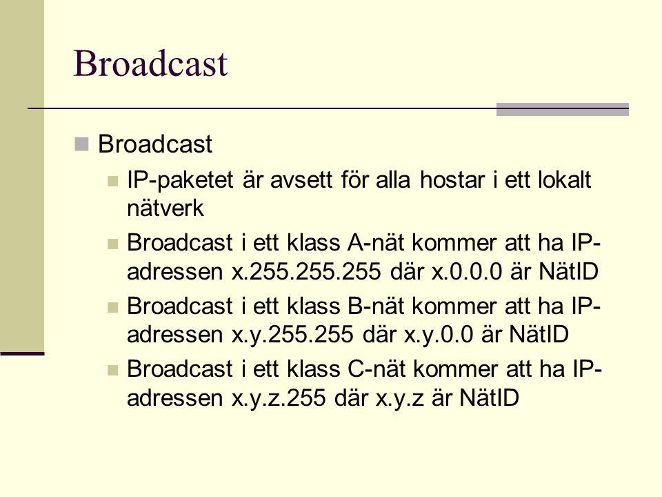 Broadcast IP-paketet är avsett för alla hostar i ett lokalt nätverk Broadcast i ett klass A-nät kommer att ha IP- adressen x.255.255.255 där x.0.0.0 ä
