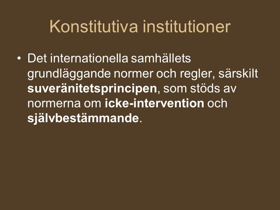Konstitutiva institutioner Det internationella samhällets grundläggande normer och regler, särskilt suveränitetsprincipen, som stöds av normerna om ic