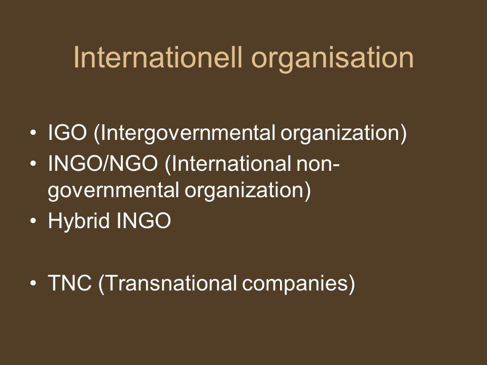 Internationell organisation IGO (Intergovernmental organization) INGO/NGO (International non- governmental organization) Hybrid INGO TNC (Transnationa
