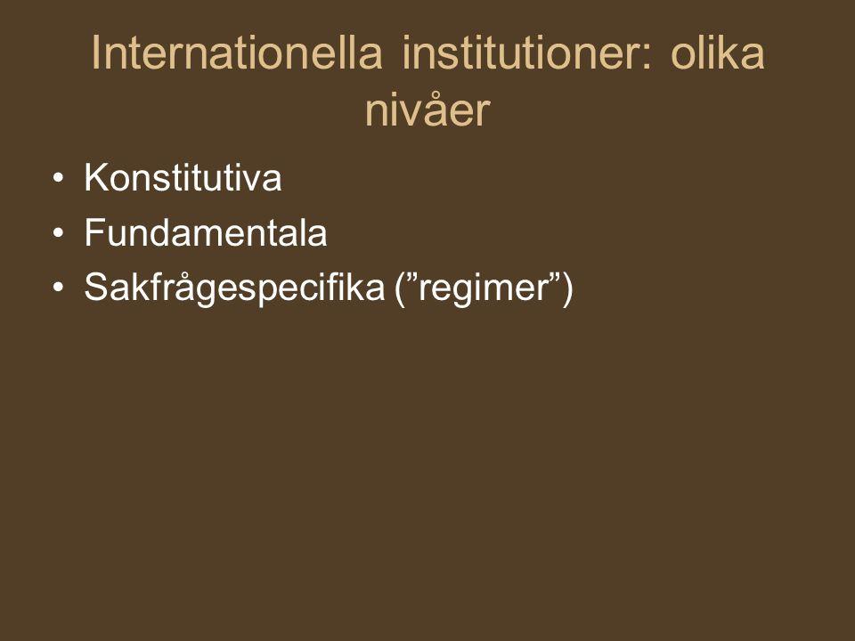 """Internationella institutioner: olika nivåer Konstitutiva Fundamentala Sakfrågespecifika (""""regimer"""")"""