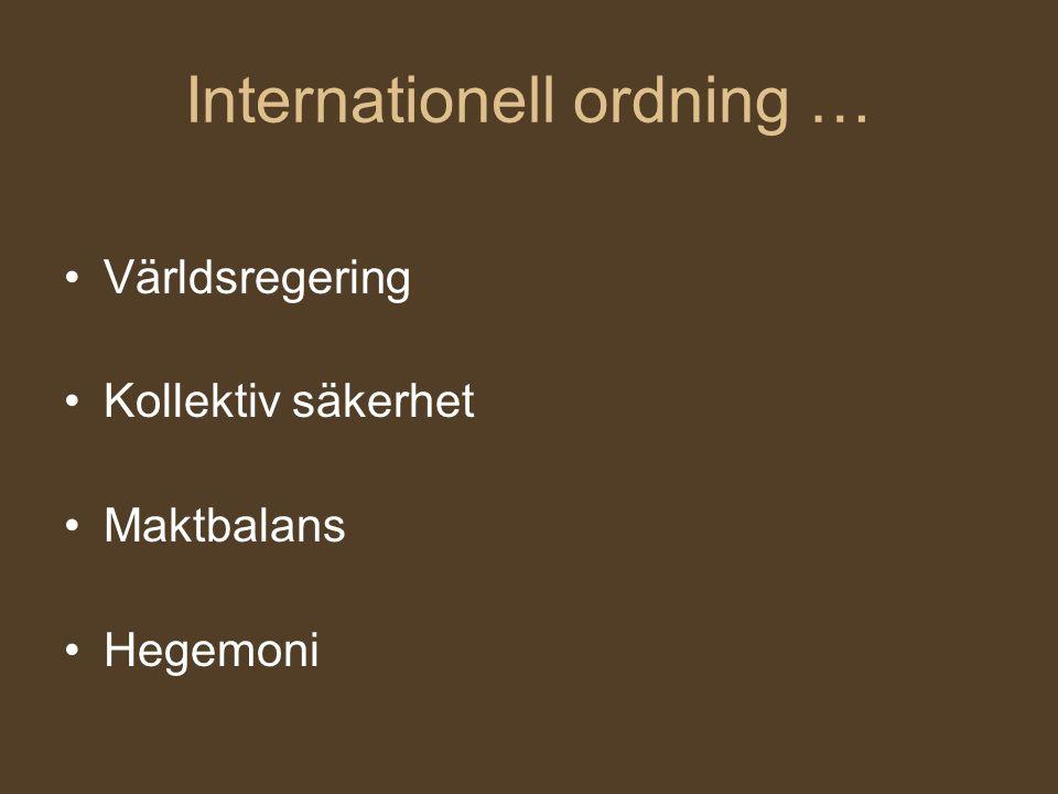 Internationell ordning … Världsregering Kollektiv säkerhet Maktbalans Hegemoni