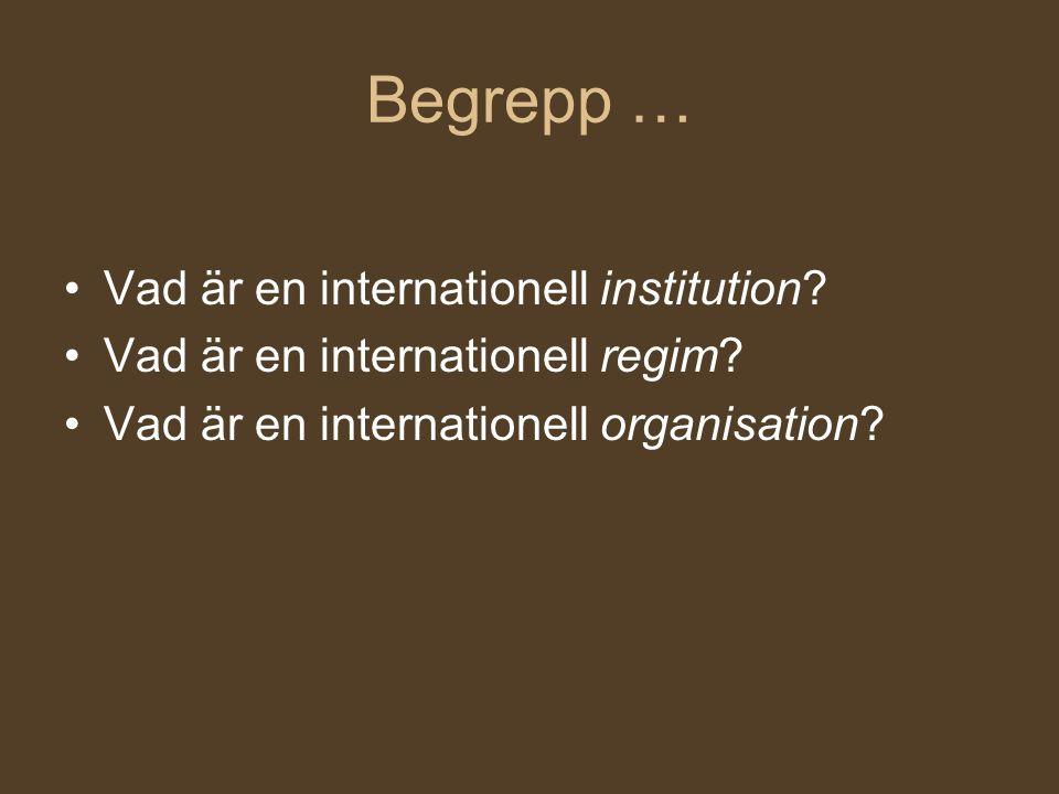 Begrepp … Vad är en internationell institution? Vad är en internationell regim? Vad är en internationell organisation?