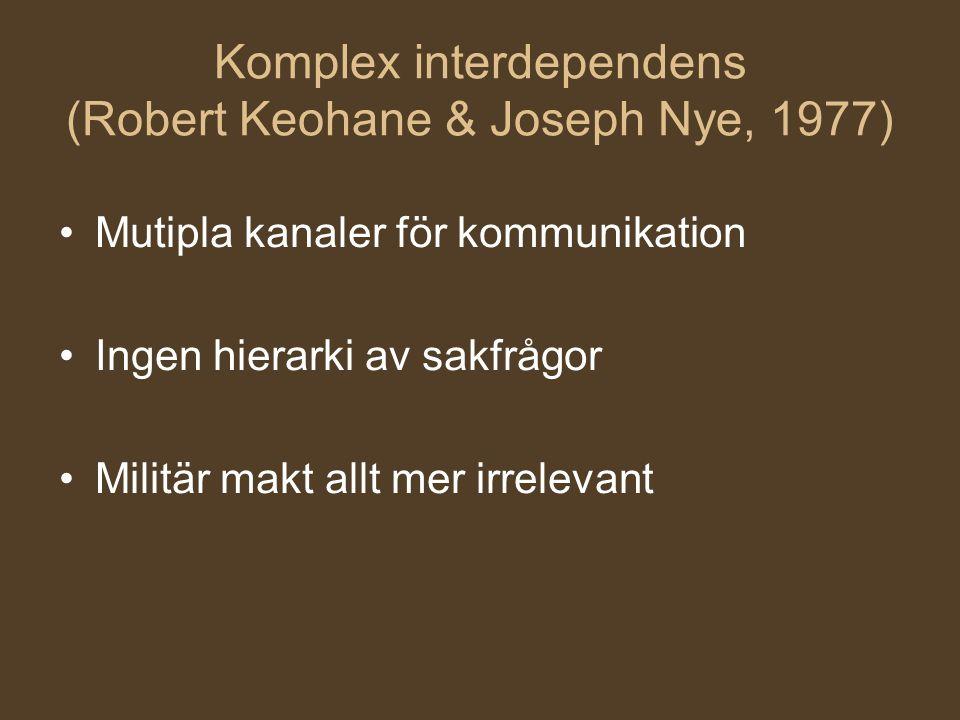 Komplex interdependens (Robert Keohane & Joseph Nye, 1977) Mutipla kanaler för kommunikation Ingen hierarki av sakfrågor Militär makt allt mer irrelev