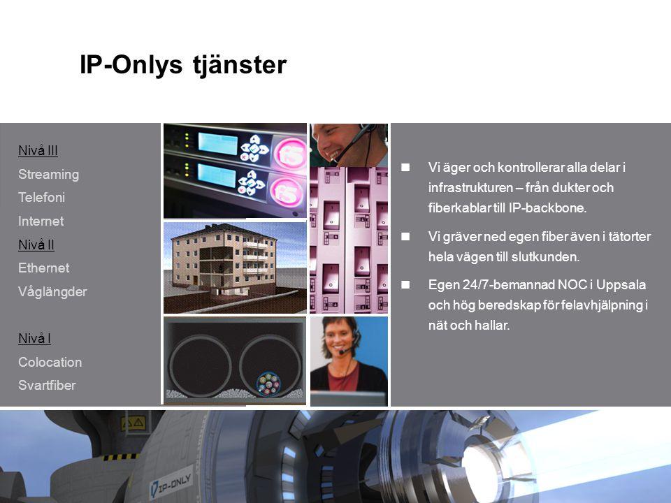 IP-Onlys tjänster Nivå III Streaming Telefoni Internet Nivå II Ethernet Våglängder Nivå I Colocation Svartfiber Vi äger och kontrollerar alla delar i