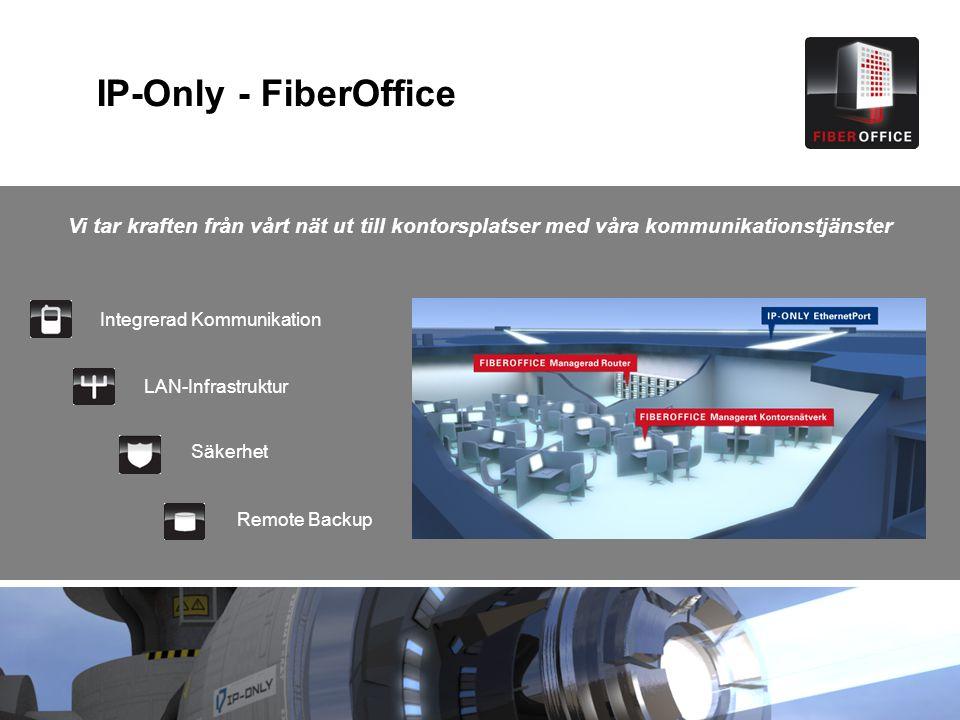 IP-Only - FiberOffice Integrerad Kommunikation LAN-Infrastruktur Säkerhet Remote Backup Vi tar kraften från vårt nät ut till kontorsplatser med våra k