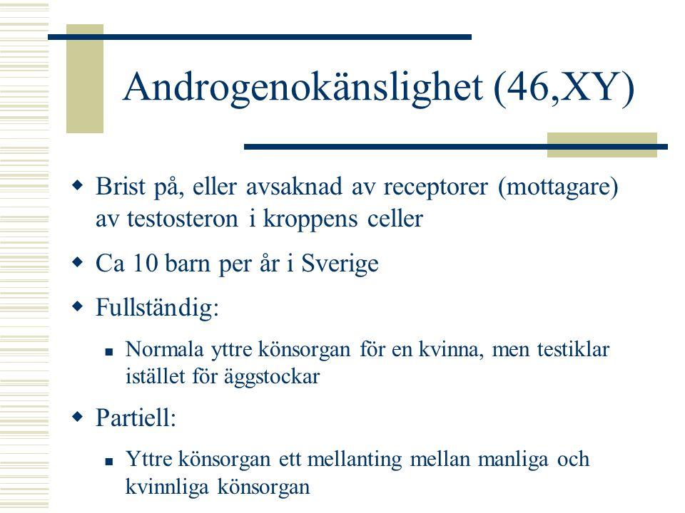 CAH (46,XX)  Adrenogenitalt syndrom (Congenital Adrenal Hyperplasia)  Förekomst: ca 8 – 10 barn per år i Sverige  Förändring i binjurebarkens funktion som innebär stor produktion av androgener (testosteroner) och brist på kortisol, aldosteron och adrenalin  Orsakas av brist på enzymet 21-hydroxylas  De högre androgennivåerna på verkar könsorganen i manlig riktning
