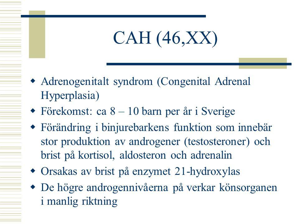 Klinefelter syndrom (47,XXY)  Könskromosomuppsättning 47, XXY (mosaik förekommer)  Långväxt, ca 10 cm längre  Bröstförstoring och infertilitet förekommer  Förekomst: ca 1 av 500-800 födslar  De flesta blir aldrig diagnosticerade