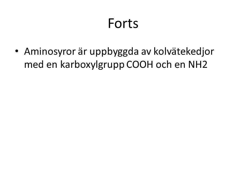 Forts Aminosyror är uppbyggda av kolvätekedjor med en karboxylgrupp COOH och en NH2