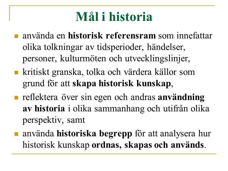 Mål i historia använda en historisk referensram som innefattar olika tolkningar av tidsperioder, händelser, personer, kulturmöten och utvecklingslinjer, kritiskt granska, tolka och värdera källor som grund för att skapa historisk kunskap, reflektera över sin egen och andras användning av historia i olika sammanhang och utifrån olika perspektiv, samt använda historiska begrepp för att analysera hur historisk kunskap ordnas, skapas och används.