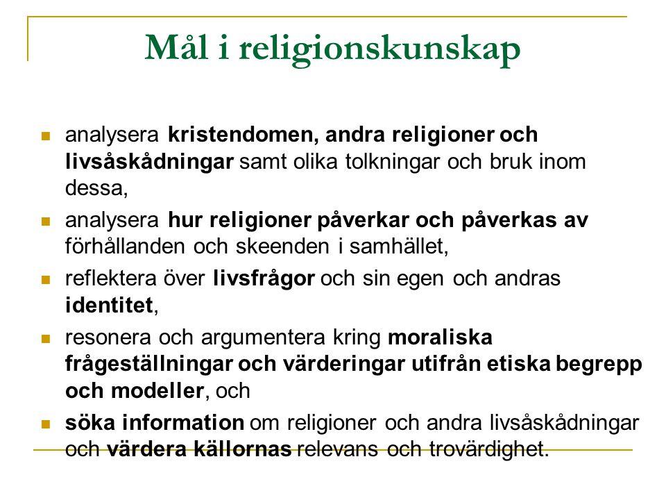 Mål i religionskunskap analysera kristendomen, andra religioner och livsåskådningar samt olika tolkningar och bruk inom dessa, analysera hur religioner påverkar och påverkas av förhållanden och skeenden i samhället, reflektera över livsfrågor och sin egen och andras identitet, resonera och argumentera kring moraliska frågeställningar och värderingar utifrån etiska begrepp och modeller, och söka information om religioner och andra livsåskådningar och värdera källornas relevans och trovärdighet.