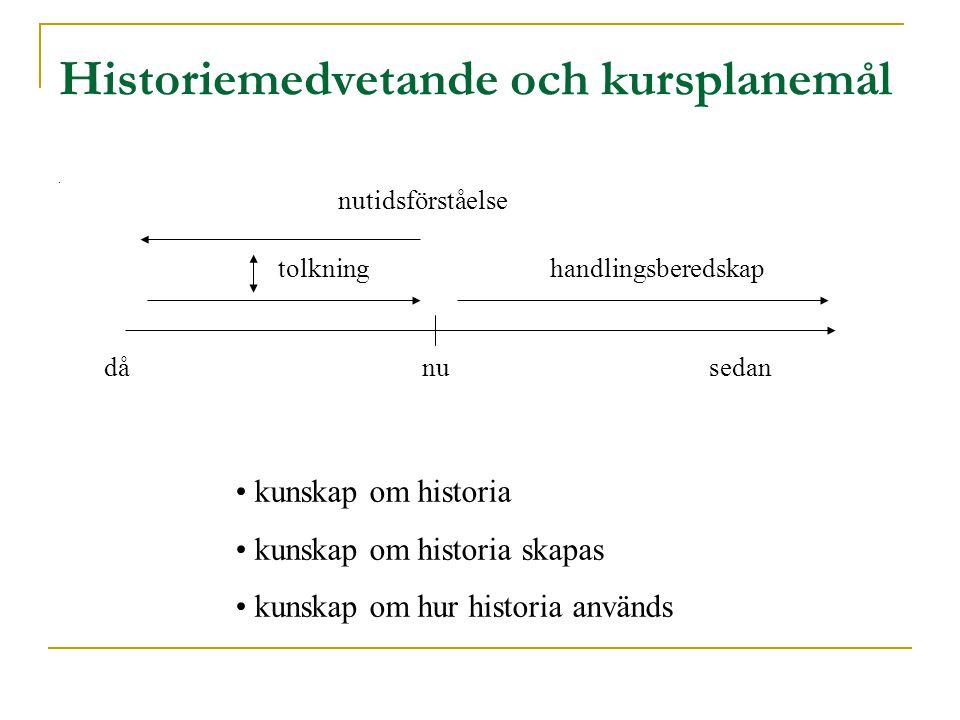 Historiemedvetande och kursplanemål.